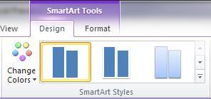 To insert a SmartArt image: 1. Click on the Insert tab and then on the SmartArt button 2. Select a category in the left-hand pane 3. Click on a layout in the middle pane, click OK 4.
