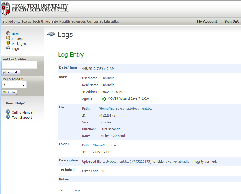 To view the details of a log entry, click on the date time stamp.