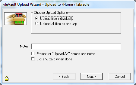 Files can be uploaded individually or multiple files can be uploaded as one zip file by selecting the Upload all files as one.zip option.