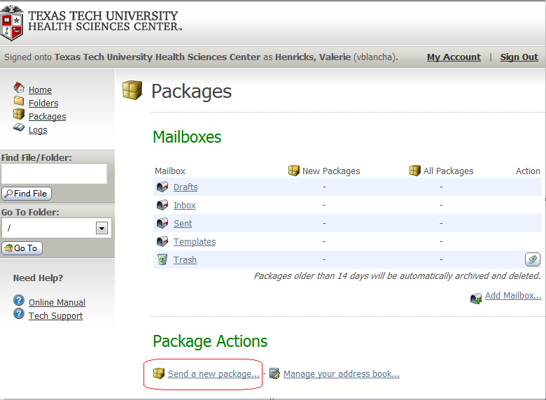 Sending a new package is similar to sending an email. Select send new package at the bottom of the screen. The Package compose page will open.