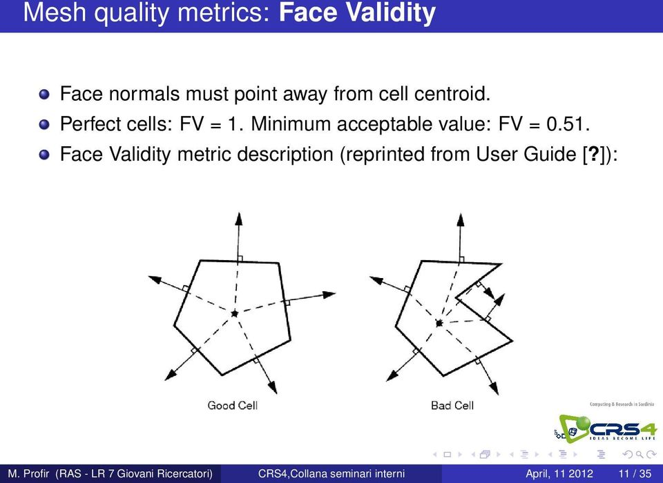 Face Validity metric description (reprinted from User Guide [?]): M.