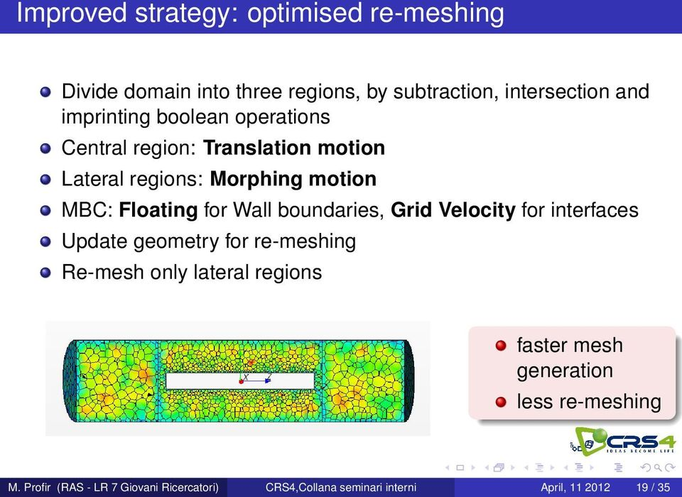 Wall boundaries, Grid Velocity for interfaces Update geometry for re-meshing Re-mesh only lateral regions faster