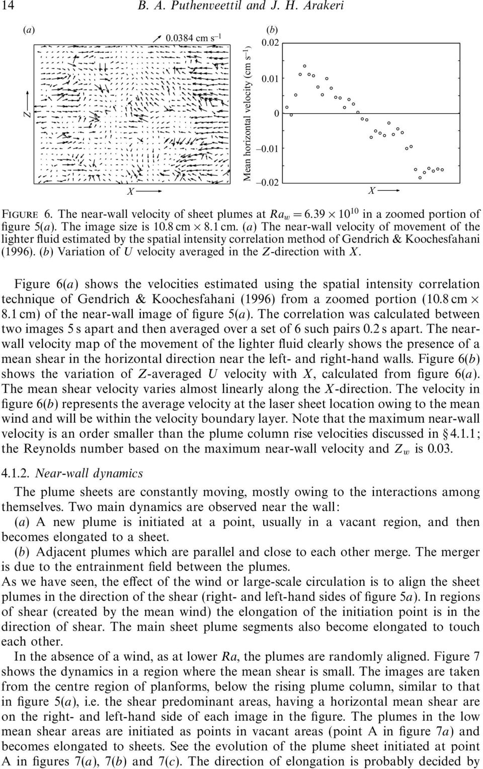 (a) The near-wall velocity of movement of the lighter fluid estimated by the spatial intensity correlation method of Gendrich & Koochesfahani (1996).