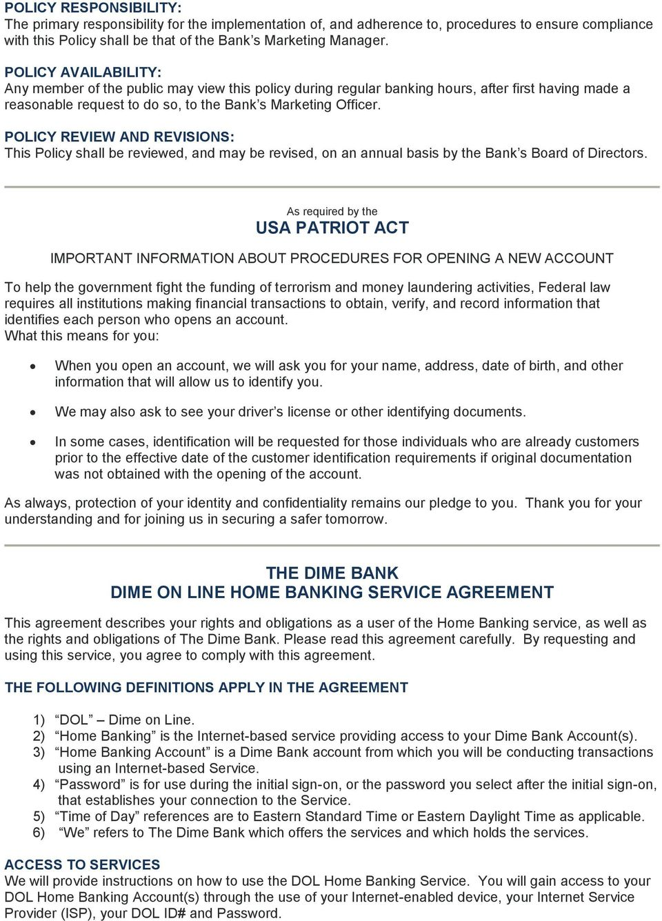 the dime bank agreements, disclosures, and policies - pdf