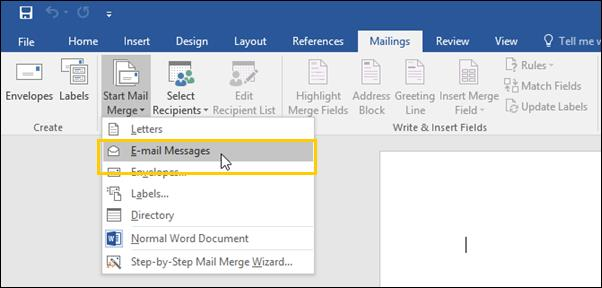 4. Select the Start Mail Merge button, located in the Mailings toolbar. A drop-down menu displays. 5. From the drop-down menu, select an option.