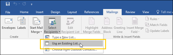Next, select the Select Recipients button. A drop-down menu displays. 7. There are three (3) ways to select the recipients for your Mail Merge email.