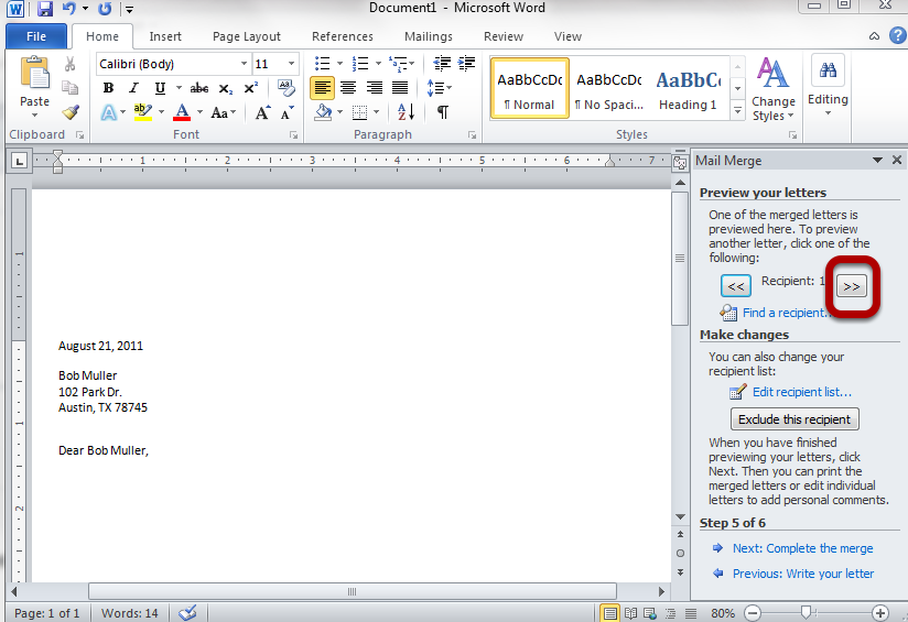 Creating a Mail Merge with Word PDF