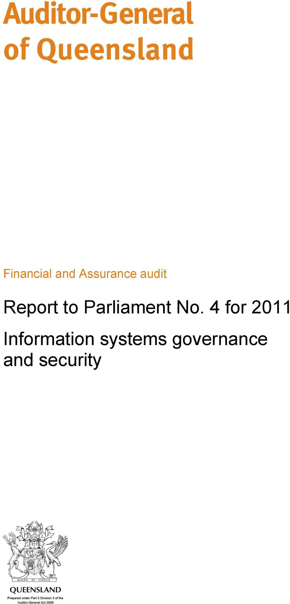 Report to Parliament No.