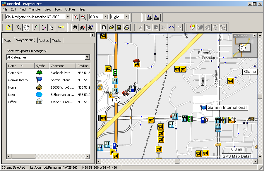Using MapSource > Parts of MapSource Using MapSource Parts of MapSource The MapSource window contains five main