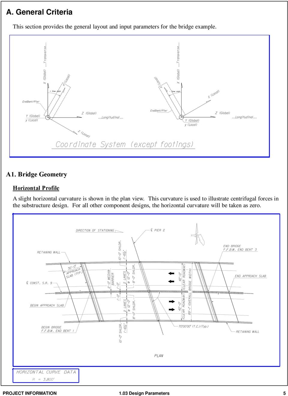 Bridge Geometry Horizontal Profile A slight horizontal curvature is shown in the plan view.