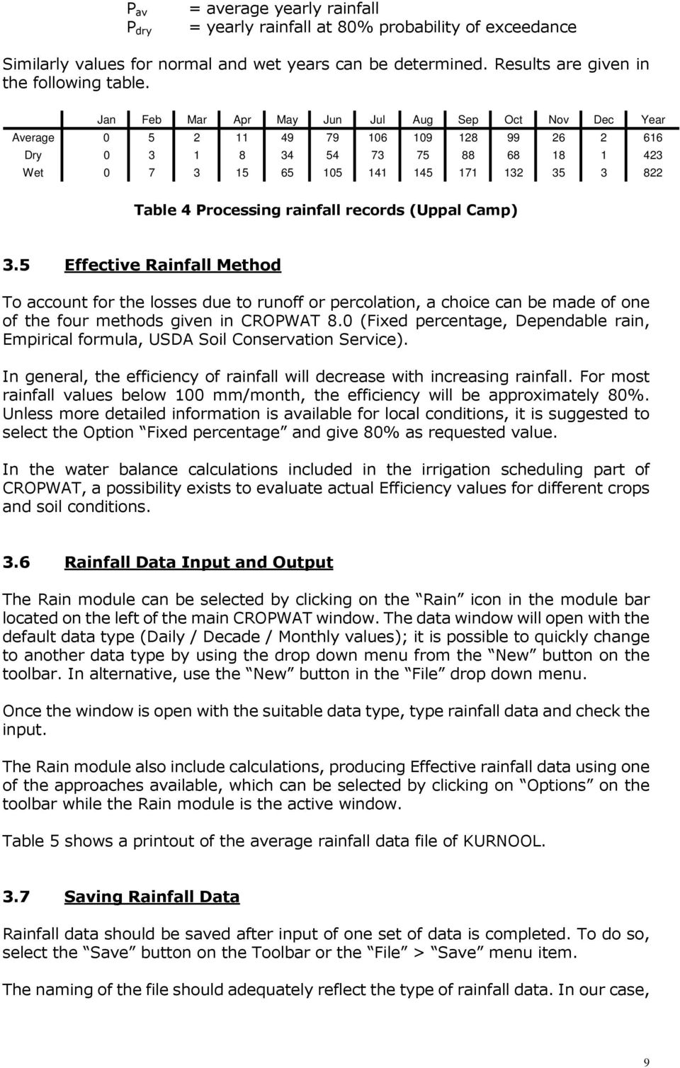 Processing rainfall records (Uppal Camp) 3.5 Effective Rainfall Method To account for the losses due to runoff or percolation, a choice can be made of one of the four methods given in CROPWAT 8.