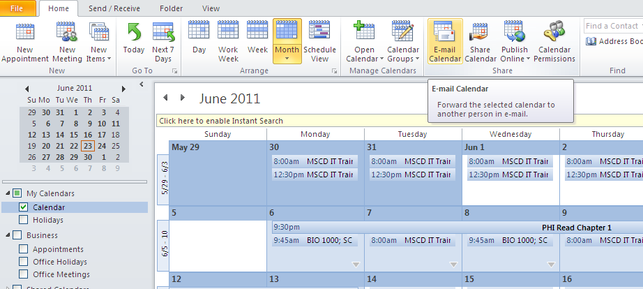 Share Calendar There are two common ways to share calendar information with other people using Microsoft Outlook 2010: By email With Microsoft Exchange Server accounts By publishing a calendar online