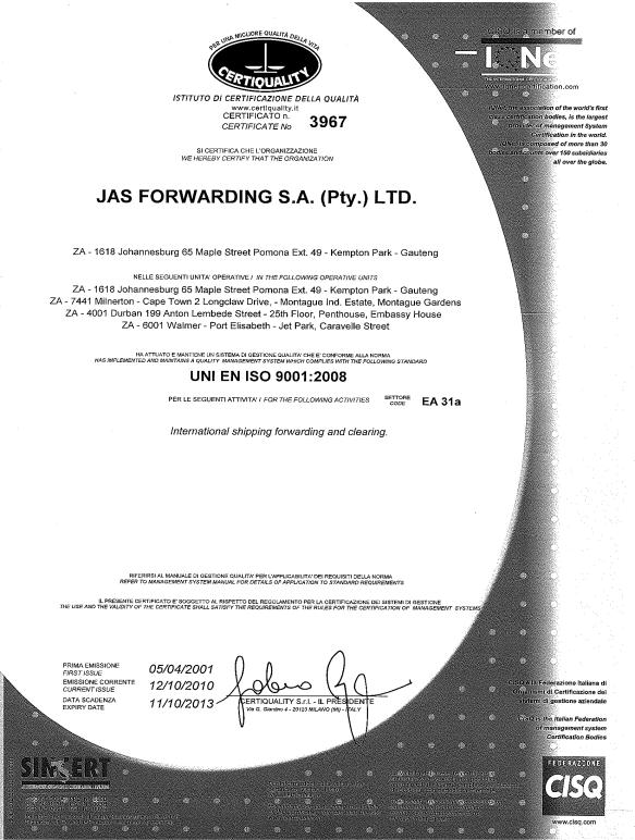 CERTIFICATION JAS South Africa BBBEE Verification Certificate