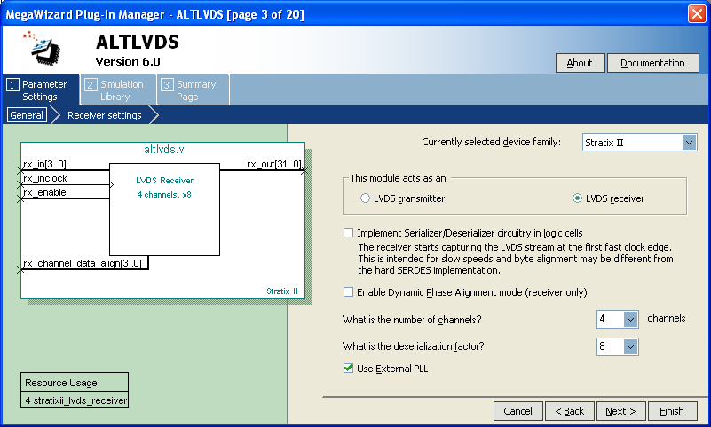 Generate an altlvds Receiver Generate an altlvds Receiver This section describes how to generate the altlvds and altpll megafunctions to generate an altlvds receiver using the MegaWizard Plug-In