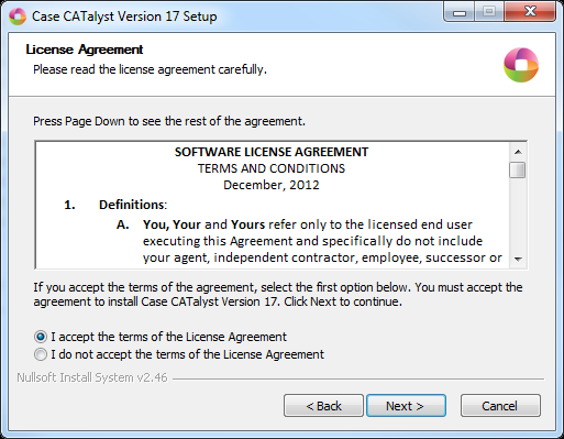 1) At the License Agreement screen choose I accept the terms of the License Agreement and click Next.