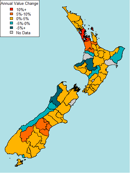 House values by region www.building.govt.nz Figure 2: Annual change in values for the quarter Source: Property IQ Figure 2 shows the annual change in house values for all regions over the last year.