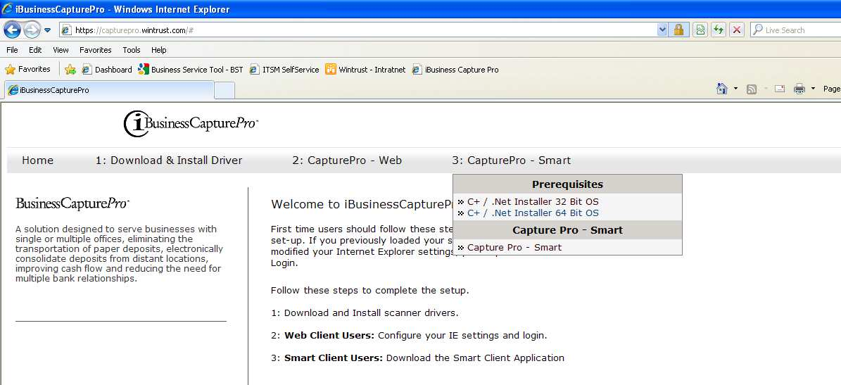 2. Run Compatibility Check Back in the browser window, Click on 3: CapturePro Smart. 1.