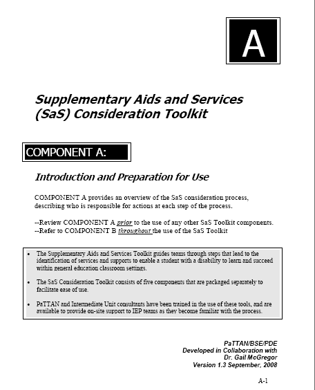 Supplementary Aids and Services Toolkit Analyzes from a student perspective Enhances