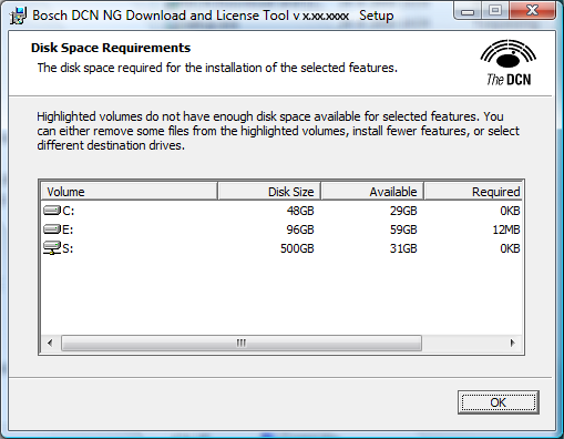 12 en Installation of the software DCN-NG Download and License Tool 3.1.2 Custom Installation Click Disk Usage to check the available disks.