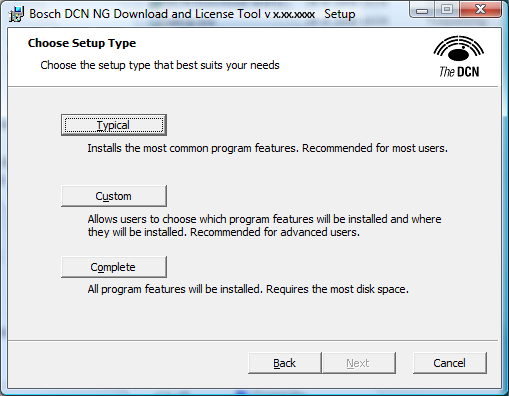 DCN-NG Download and License Tool Installation of the software en 9 Select I accept... and click Next to continue. The type of setup can be chosen.