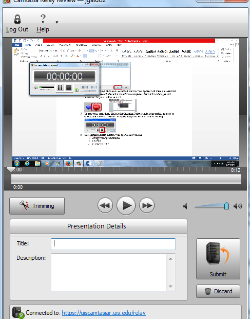narrated PowerPoint presentation). Click OK. 6. To begin recording, click REC. A second window will appear and there is a 3-second countdown to record.
