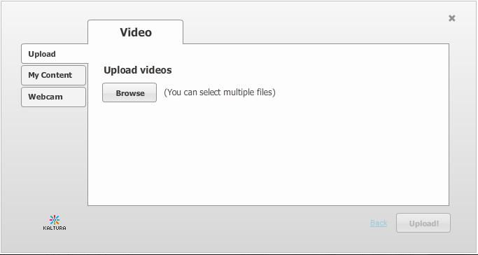 4. From the left side of the screen, you can select from where you would like to add a video to your Blackboard.