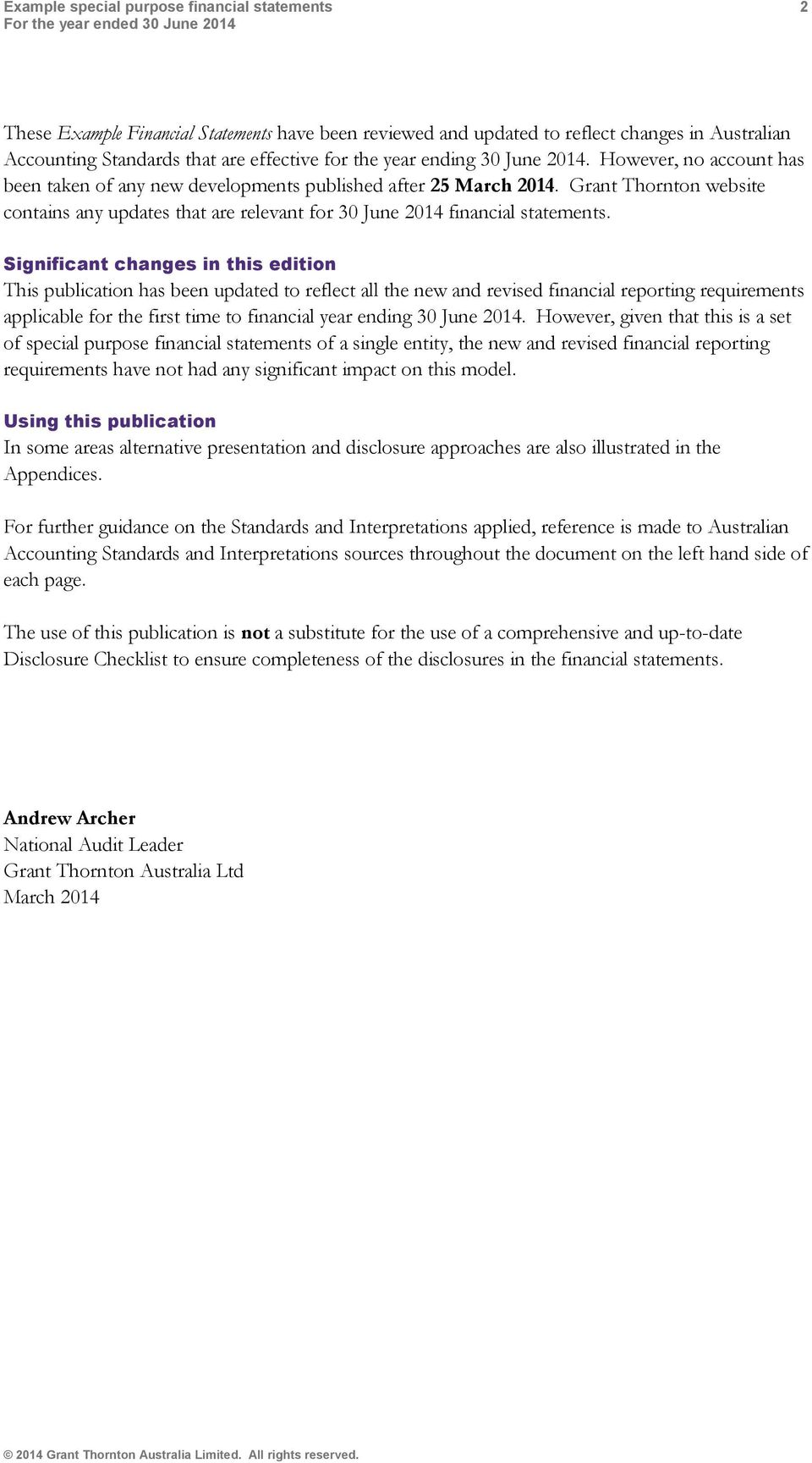 Grant Thornton website contains any updates that are relevant for 30 June 2014 financial statements.