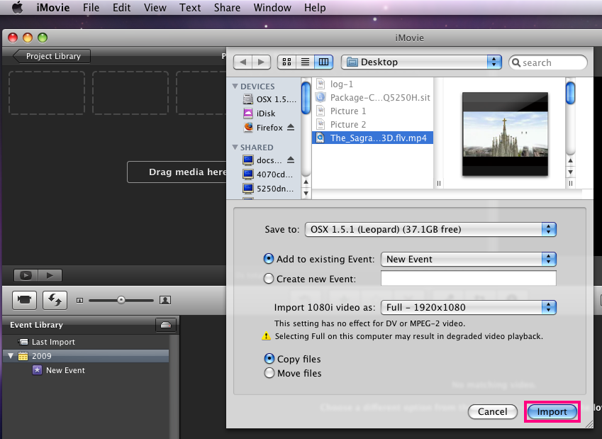 How to Compress Video using a Mac 1. First, open up imovie. 2. Click the File menu, and then select Import Movies.