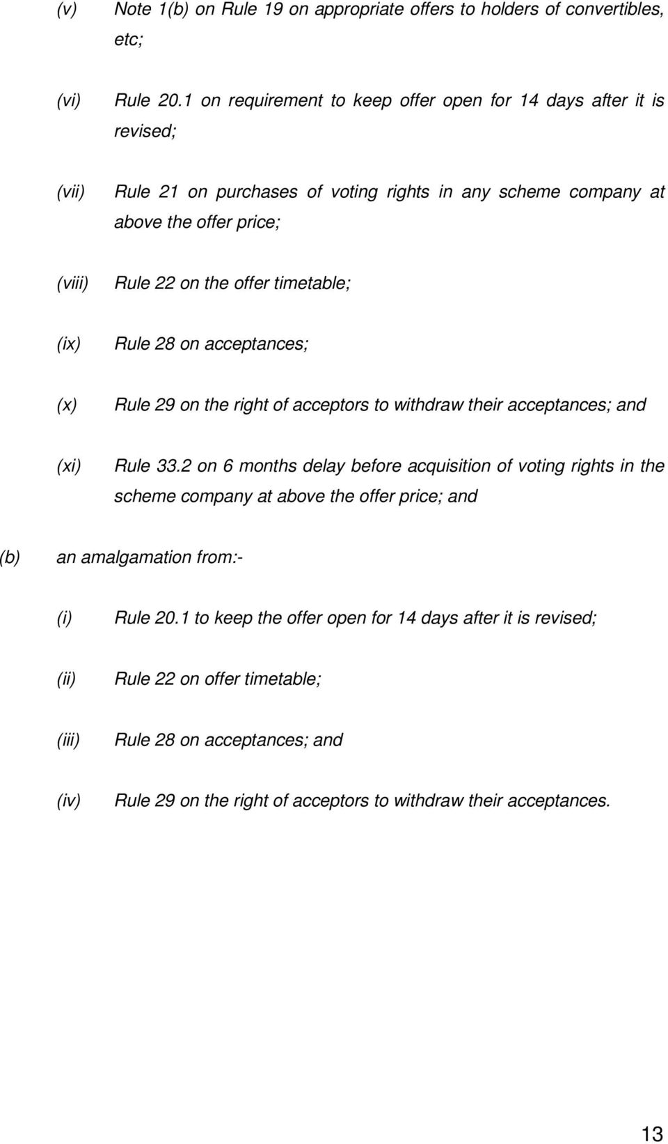 offer timetable; (ix) Rule 28 on acceptances; (x) Rule 29 on the right of acceptors to withdraw their acceptances; and (xi) Rule 33.