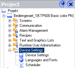 "Properties of the I/O field Device Settings Select the menu item ""Device Settings"" in the Project navigation to edit the settings of HMI device."