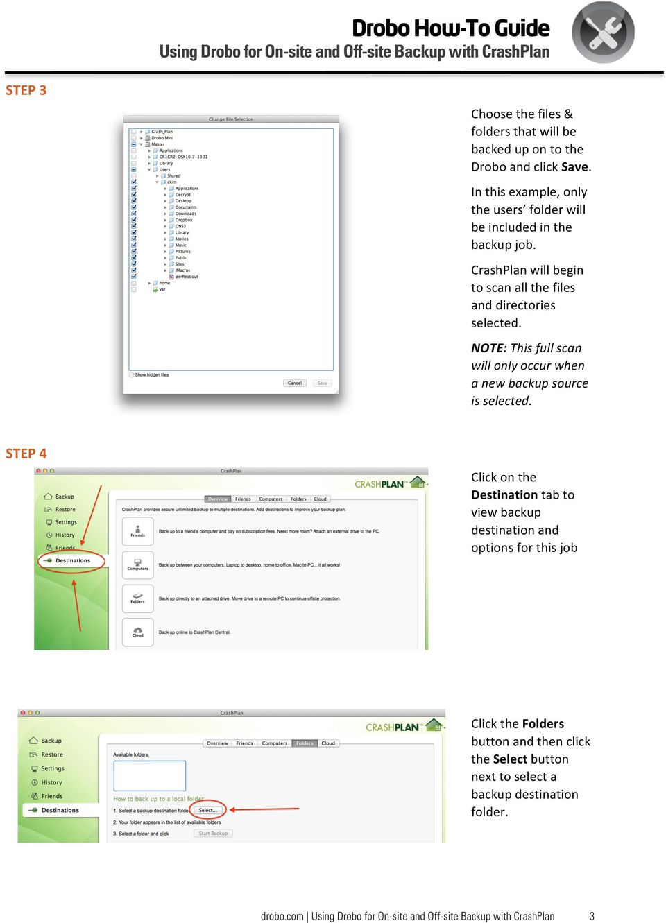 CrashPlan will begin to scan all the files and directories selected.