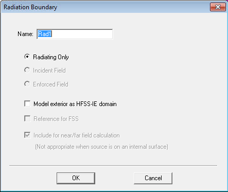 - Assign a radiation boundary: Select the Air Box > Right click into the modeler window >All Object Faces > Right click into the modeler window > Assign Boundary > Radiation Fig.