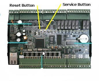 Step 5: While the controller is in ON mode, press the reset and service button together hold for 1 second, and release the reset button( left