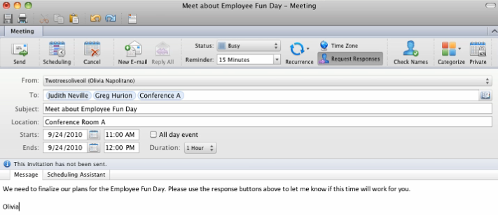 Create Meetings When you create a meeting, Outlook sends out an e-mail to the other parties involved so that they will know the details about the meeting Create a New Meeting Click on the Calendar