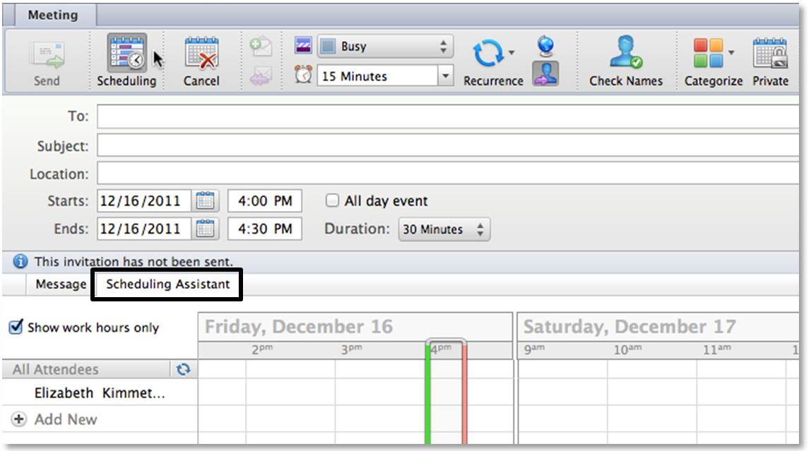 Edit a Meeting Using Scheduling Assistant In the Meeting dialog box, do the following: From the