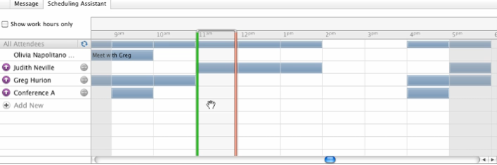the Message tab All of your invitees will be displayed, and if they are a part of your calendar