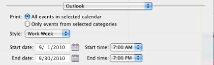 Under Print options, choose a desired option: Print all events Just the events in the categories - that have been pre-selected in the