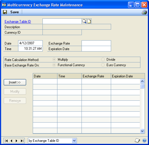 PART 1 SETUP To delete an exchange rate table: 1. Open the Multicurrency Exchange Rate Table Setup window. (Microsoft Dynamics GP menu >> Tools >> Setup >> System >> Exchange Table) 2.