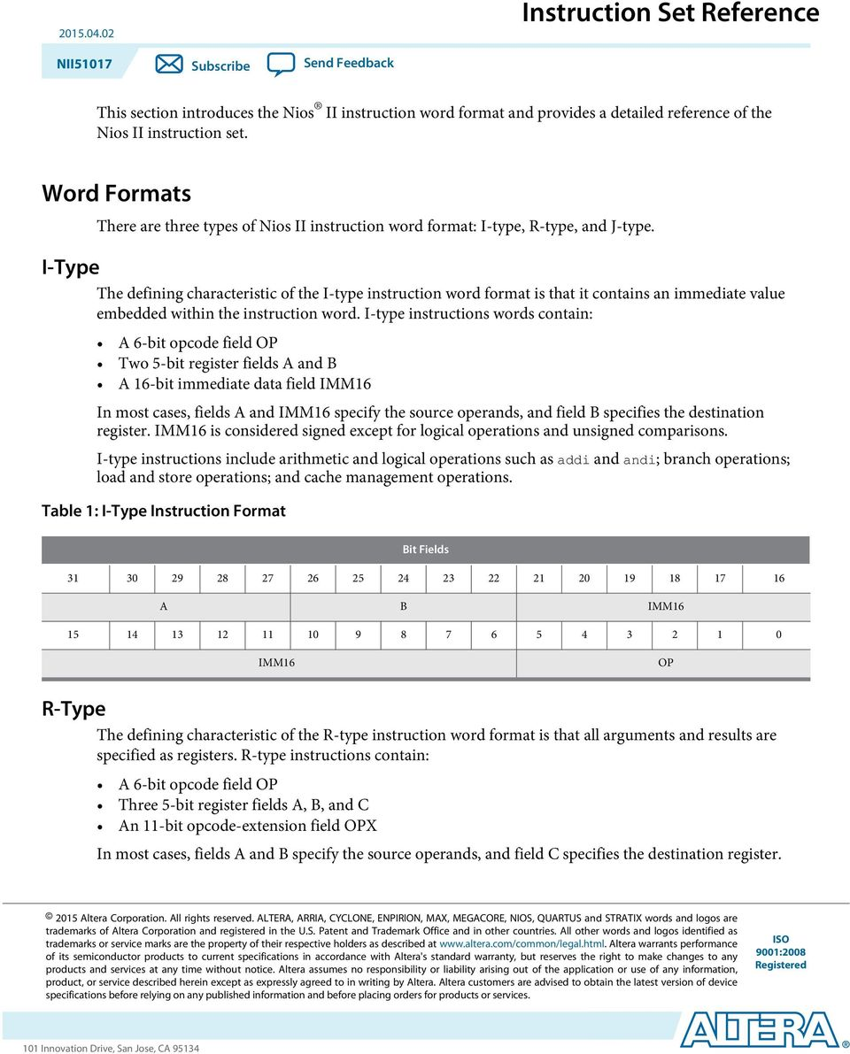 I-Type The defining characteristic of the I-type instruction word format is that it contains an immediate value embedded within the instruction word.