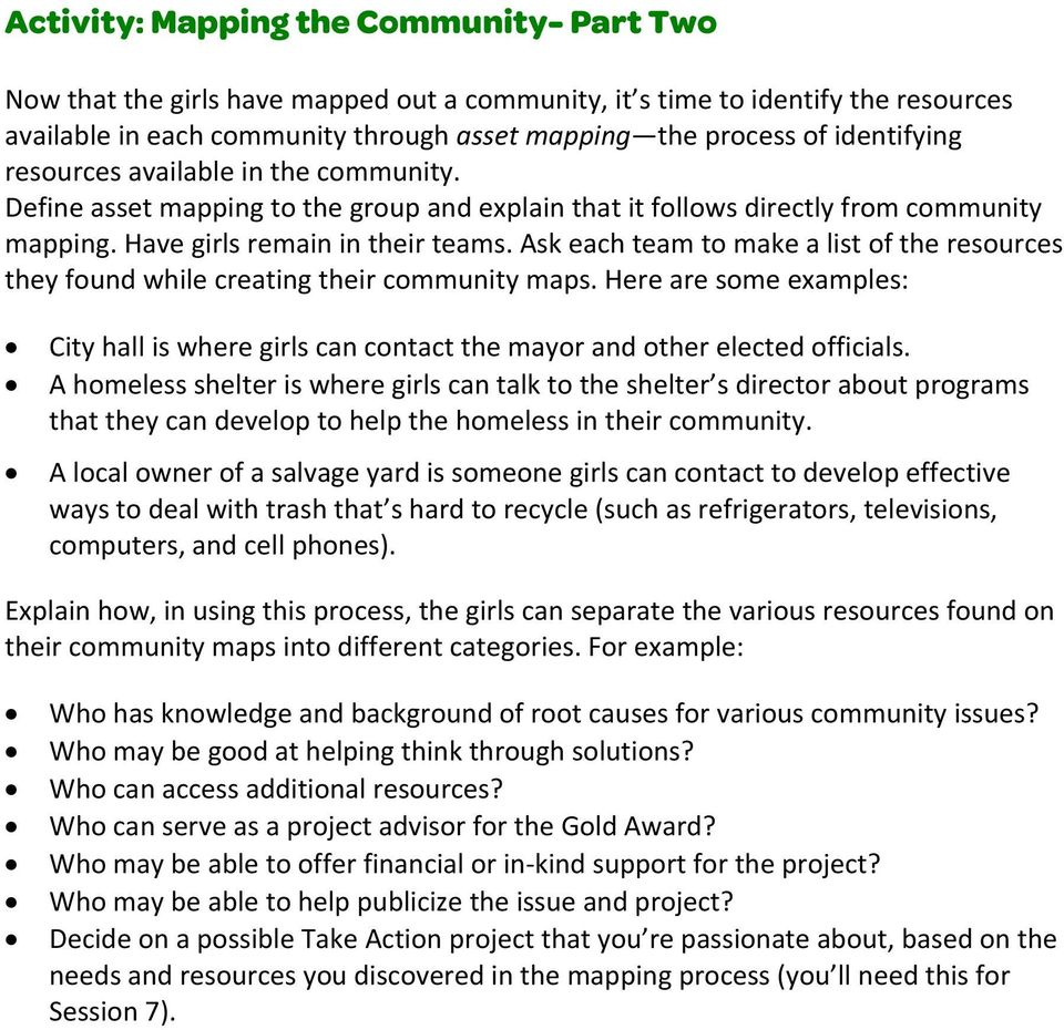 Ask each team to make a list of the resources they found while creating their community maps. Here are some examples: City hall is where girls can contact the mayor and other elected officials.