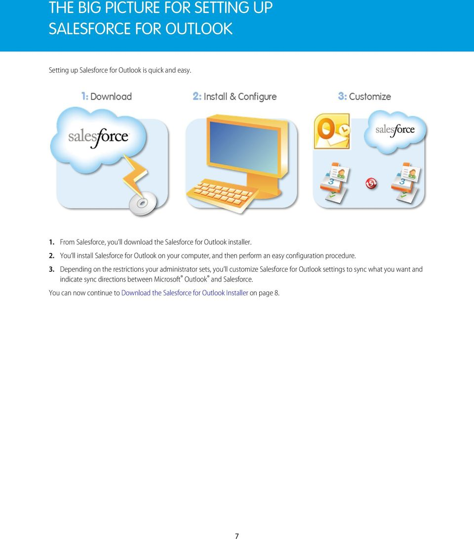You ll install Salesforce for Outlook on your computer, and then perform an easy configuration procedure. 3.