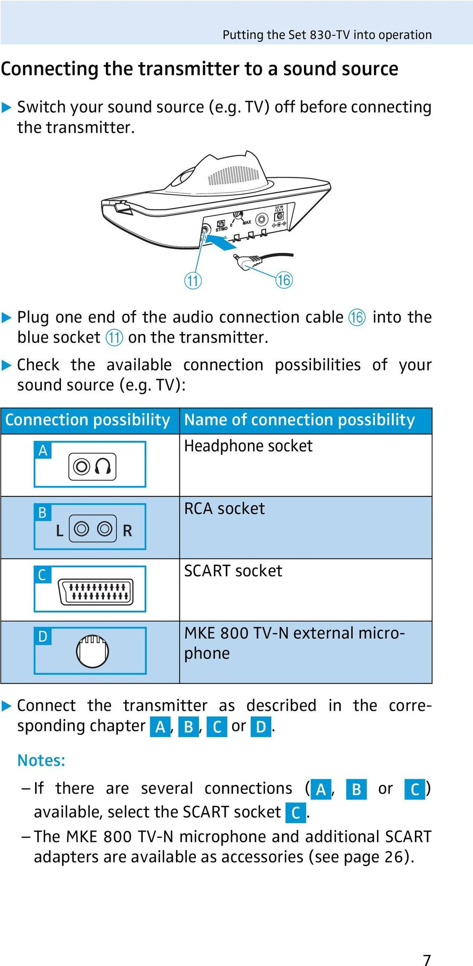 one end of the audio connection cable F into the blue socket A on the transmitter. Check the available connection possibilities of your sound source (e.g.