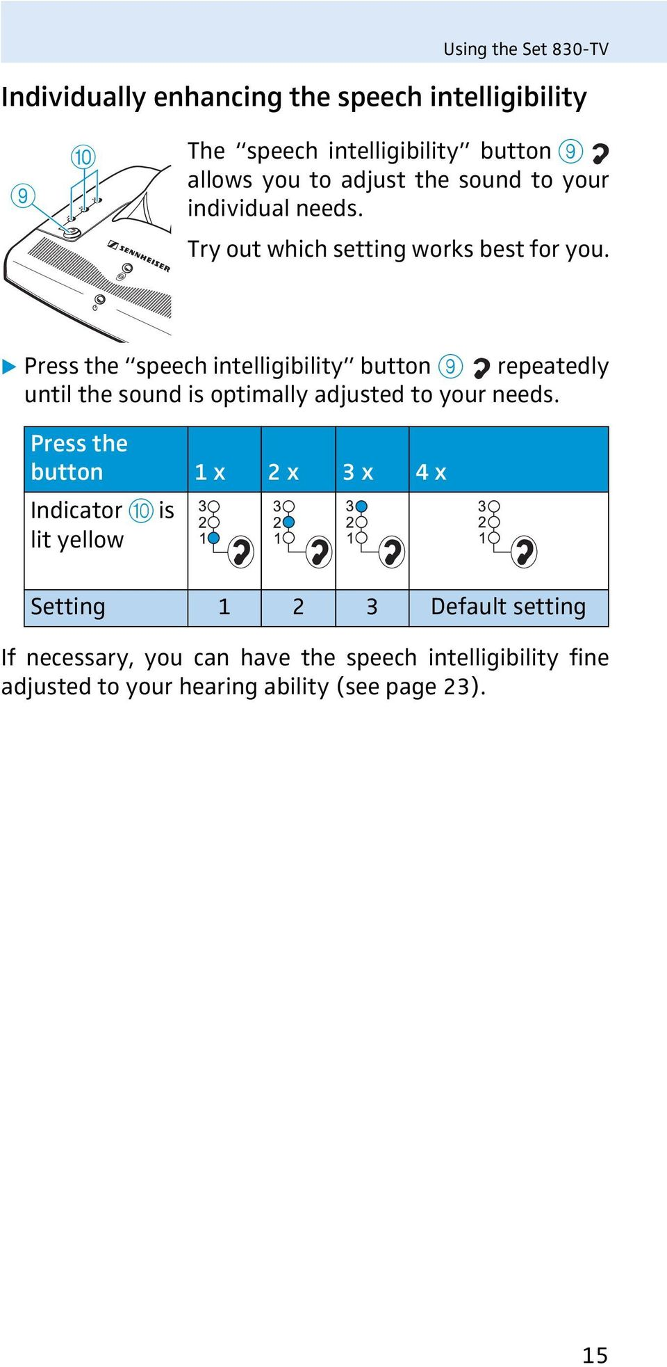 Press the speech intelligibility button 9 repeatedly until the sound is optimally adjusted to your needs.