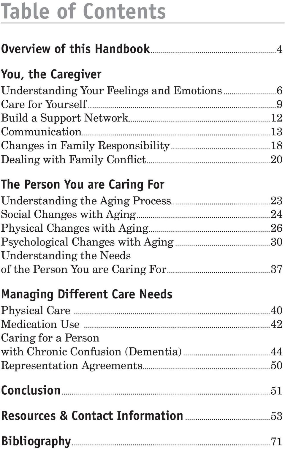 ..24 Physical Changes with Aging...26 Psychological Changes with Aging...30 Understanding the Needs of the Person You are Caring For.