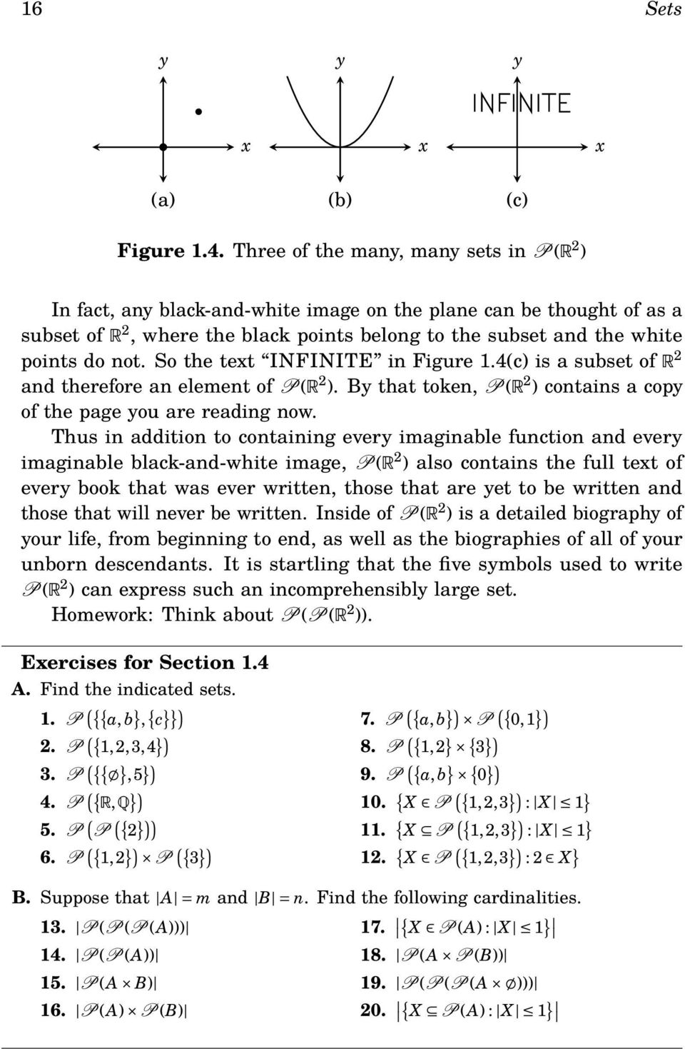 So the text INFINITE in Figure 1.4(c) is a subset of R 2 and therefore an element of P(R 2 ). By that token, P(R 2 ) contains a copy of the page you are reading now.
