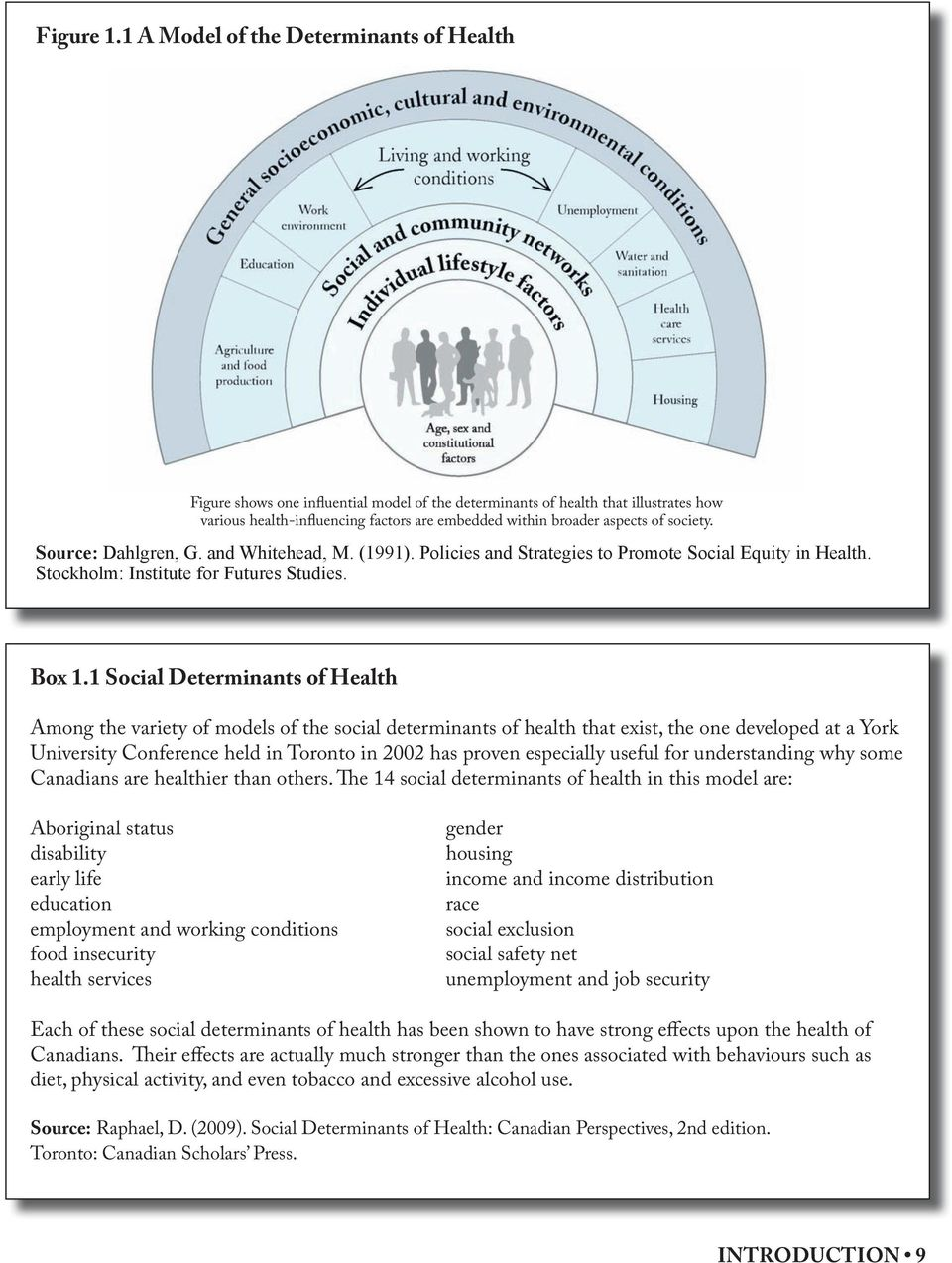 society. Source: Dahlgren, G. and Whitehead, M. (1991). Policies and Strategies to Promote Social Equity in Health. Stockholm: Institute for Futures Studies. Box 1.