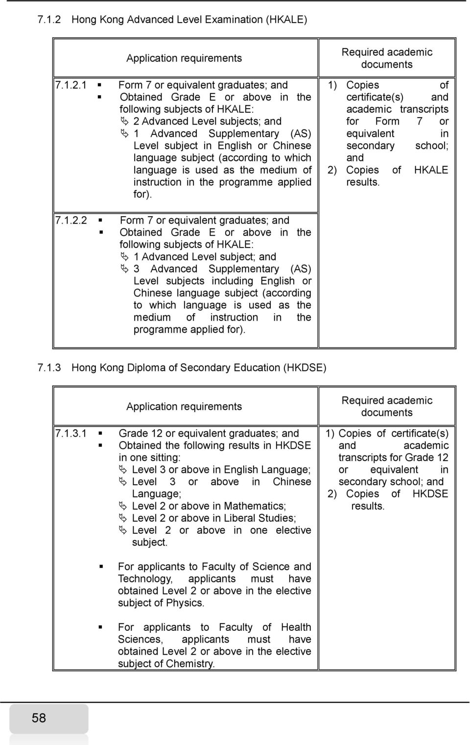 1 Form 7 or equivalent graduates; and Obtained Grade E or above in the following subjects of HKALE: 2 Advanced Level subjects; and 1 Advanced Supplementary (AS) Level subject in English or Chinese
