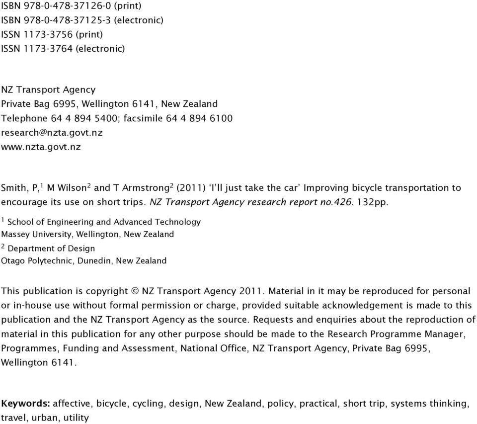 NZ Transport Agency research report no.426. 132pp.