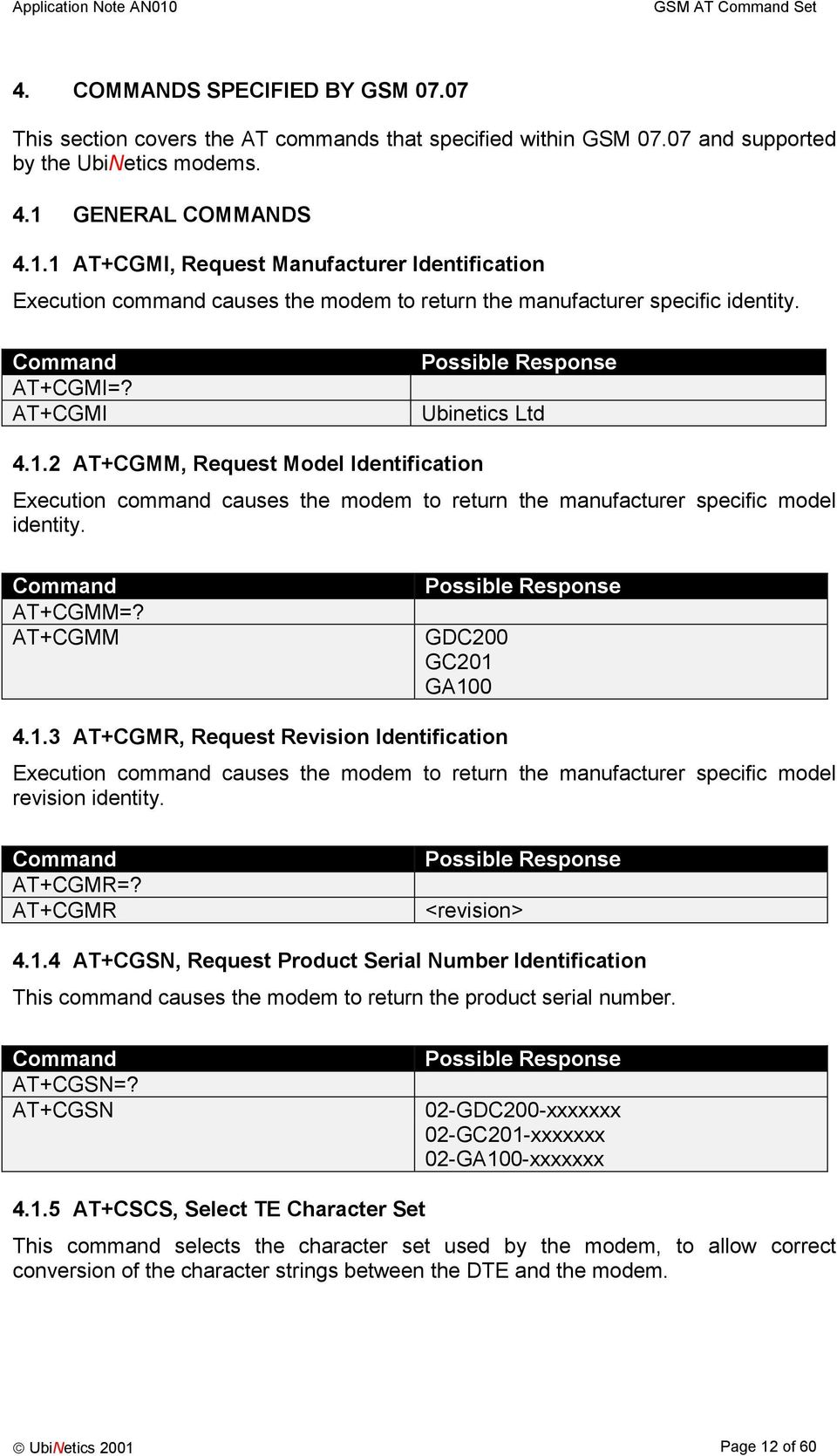 AT+CGMM=? AT+CGMM GDC200 GC201 GA100 4.1.3 AT+CGMR, Request Revision Identification Execution command causes the modem to return the manufacturer specific model revision identity. AT+CGMR=?