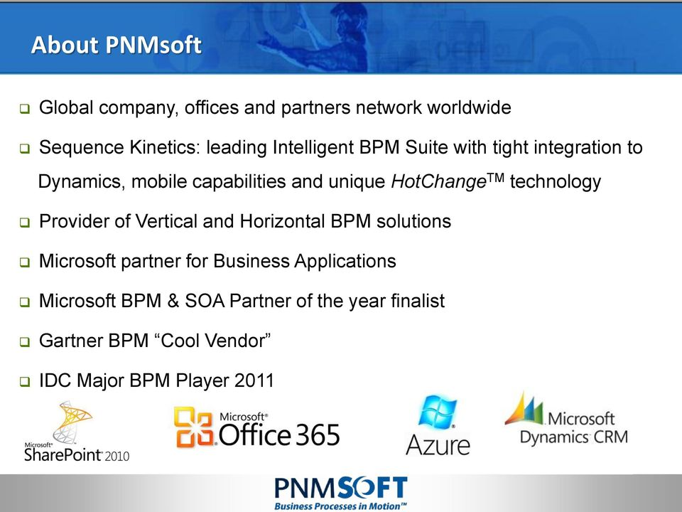 TM technology Provider of Vertical and Horizontal BPM solutions Microsoft partner for Business